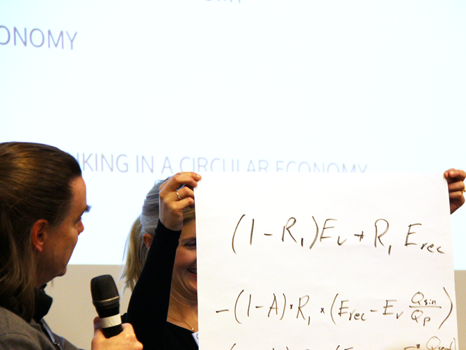 Visual interpretation: Tomas Ekvall looking at large paper with calculations. Sara Palander holding the paper on stage.